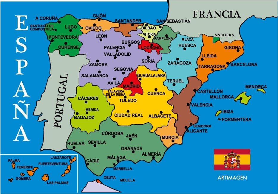 A Coruña Mapa España.Los Gentilicios