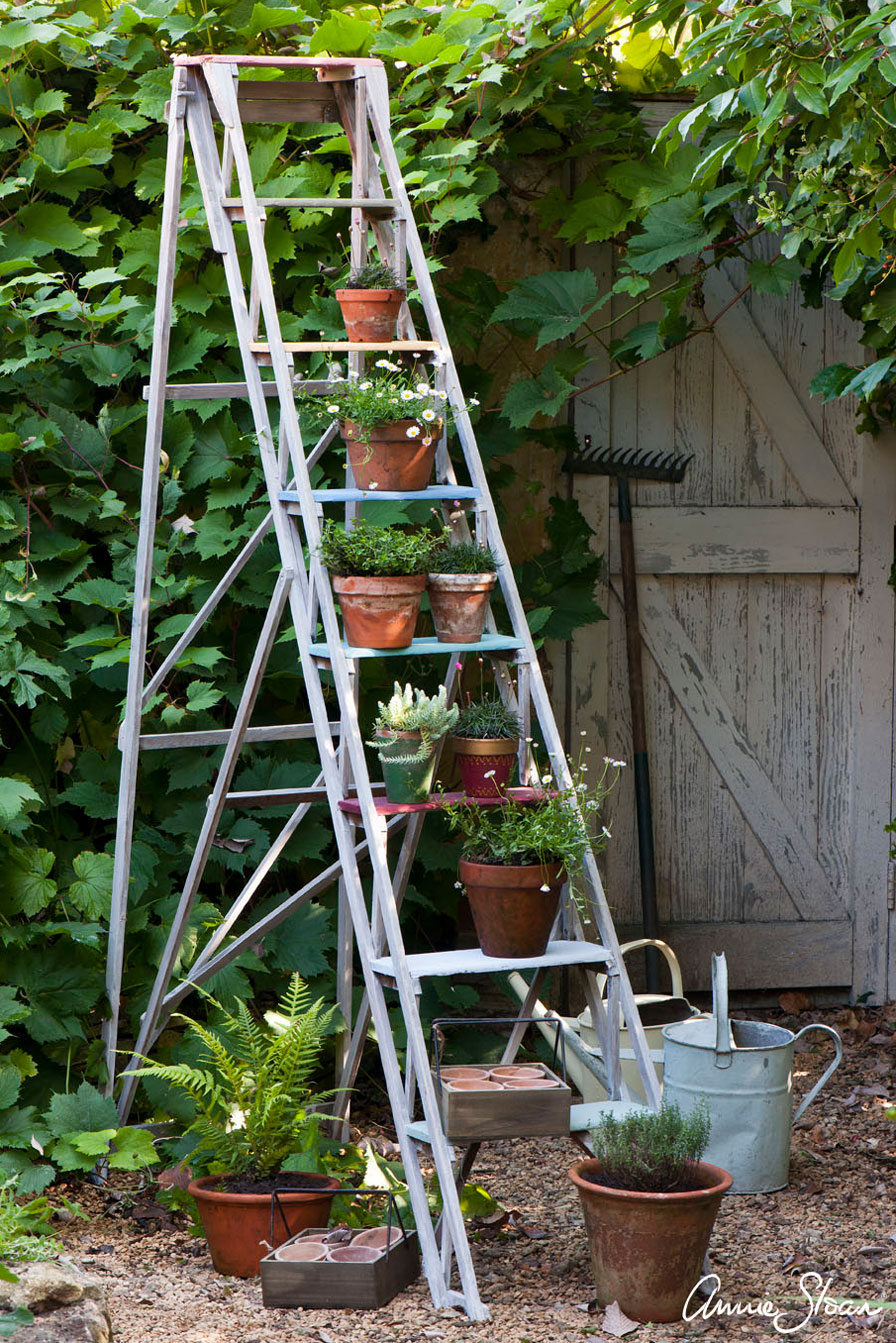 Painted Garden Step Ladder