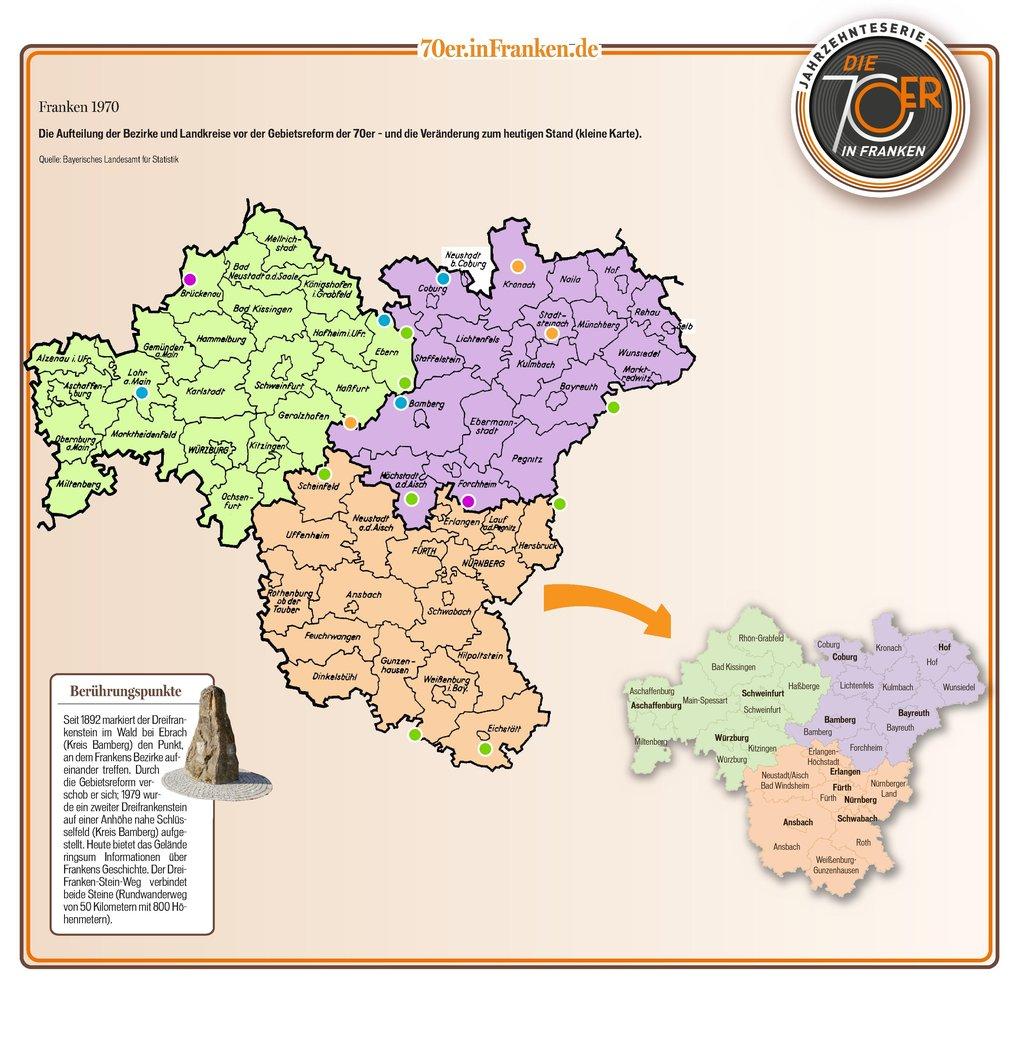 Karte Oberbayern Landkreise.Fruher War Franken Anders Was Die Gebietsreform Veranderte