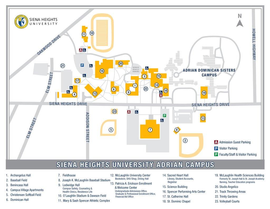 St Catherine University Campus Map.Siena Heights University Campus Map