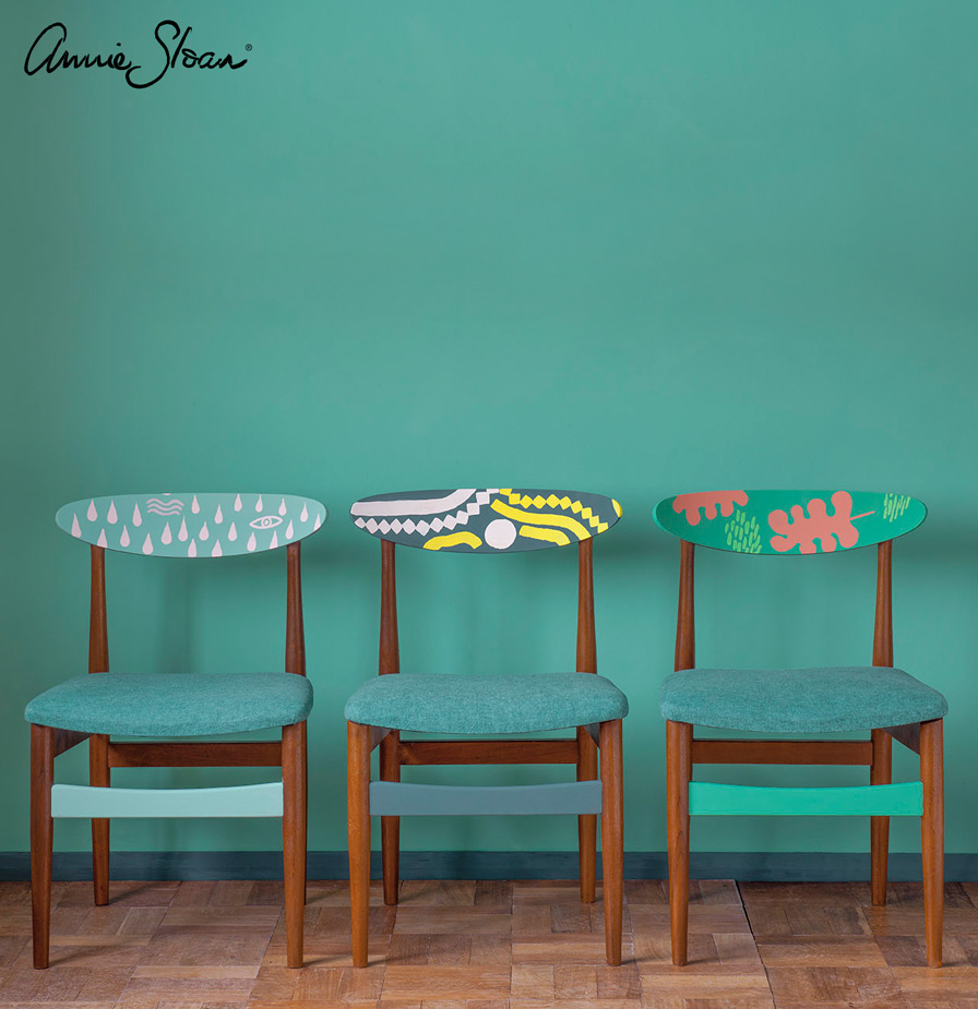 Patterned Mid-Century Modern Chairs