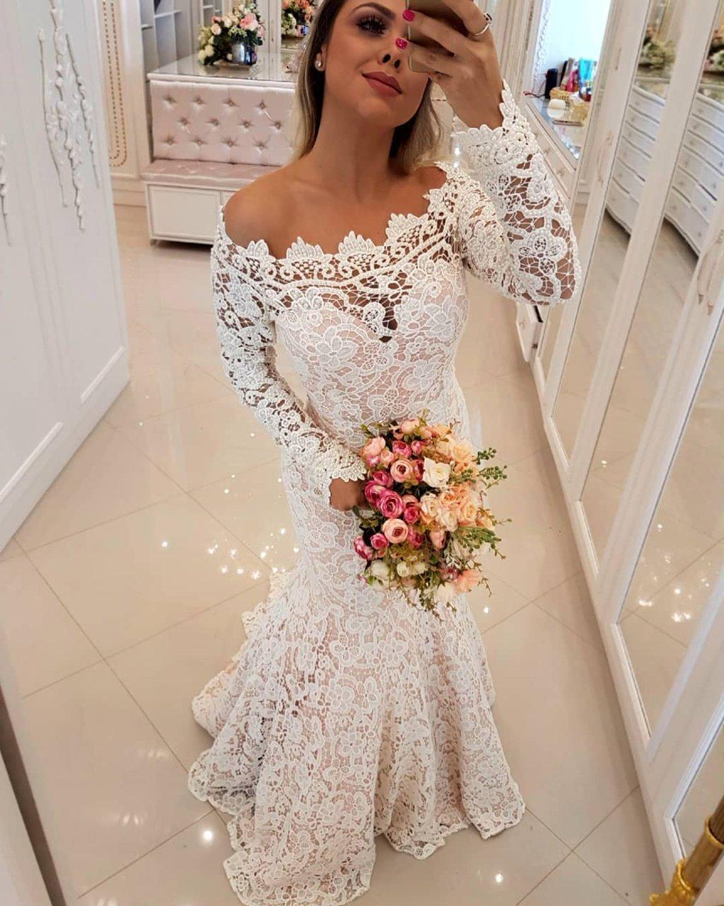 Kaufen Sie Designer Brautkleider Mit Ärmel Spitze online