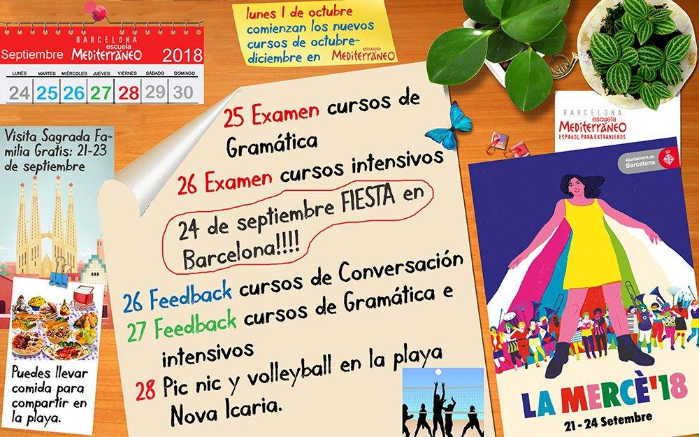 Examenes curso de español, playa y La Merce