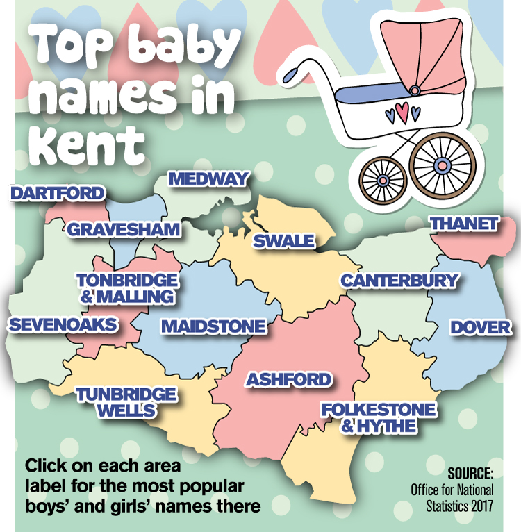 Kent's most popular baby names revealed