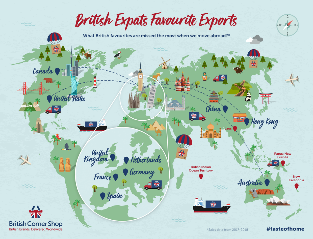 British Expats Favourite Exports Map