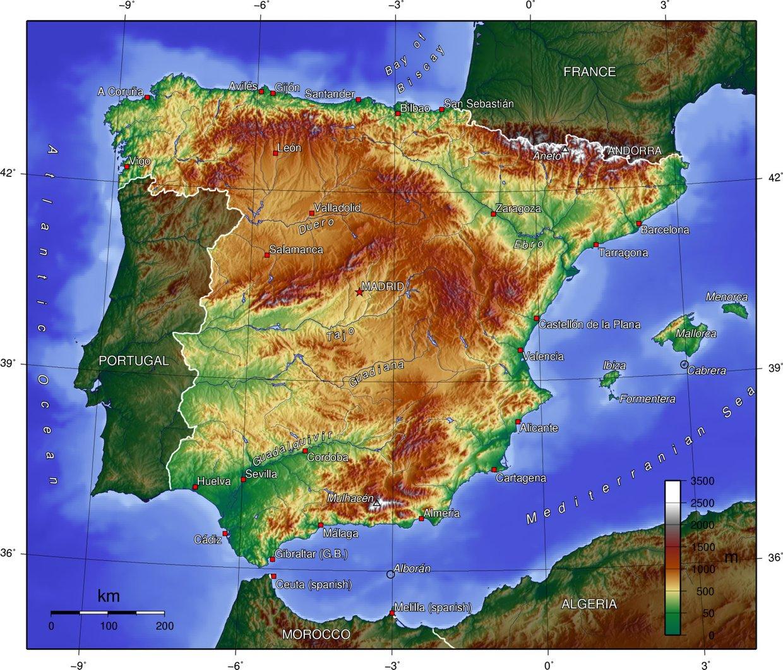 Cartina Fisica Spagna Muta.La Spagna