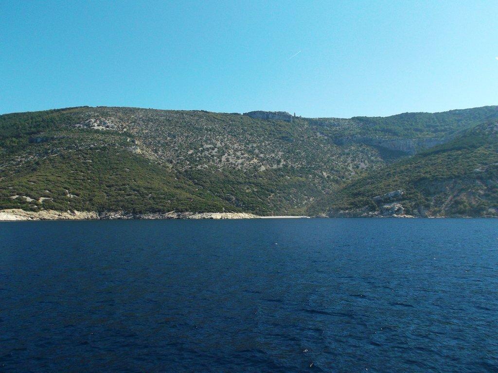 Remote view of Lubenice on Cres Istria Croatia