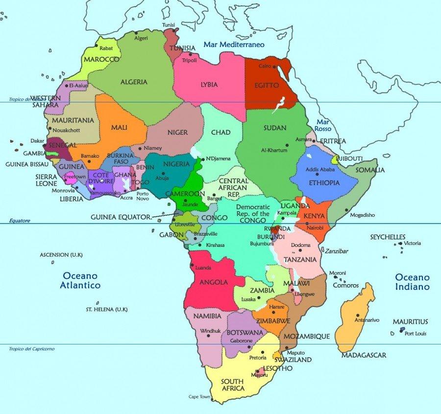 Cartina Africa In Italiano.Capitali Degli Stati Africani