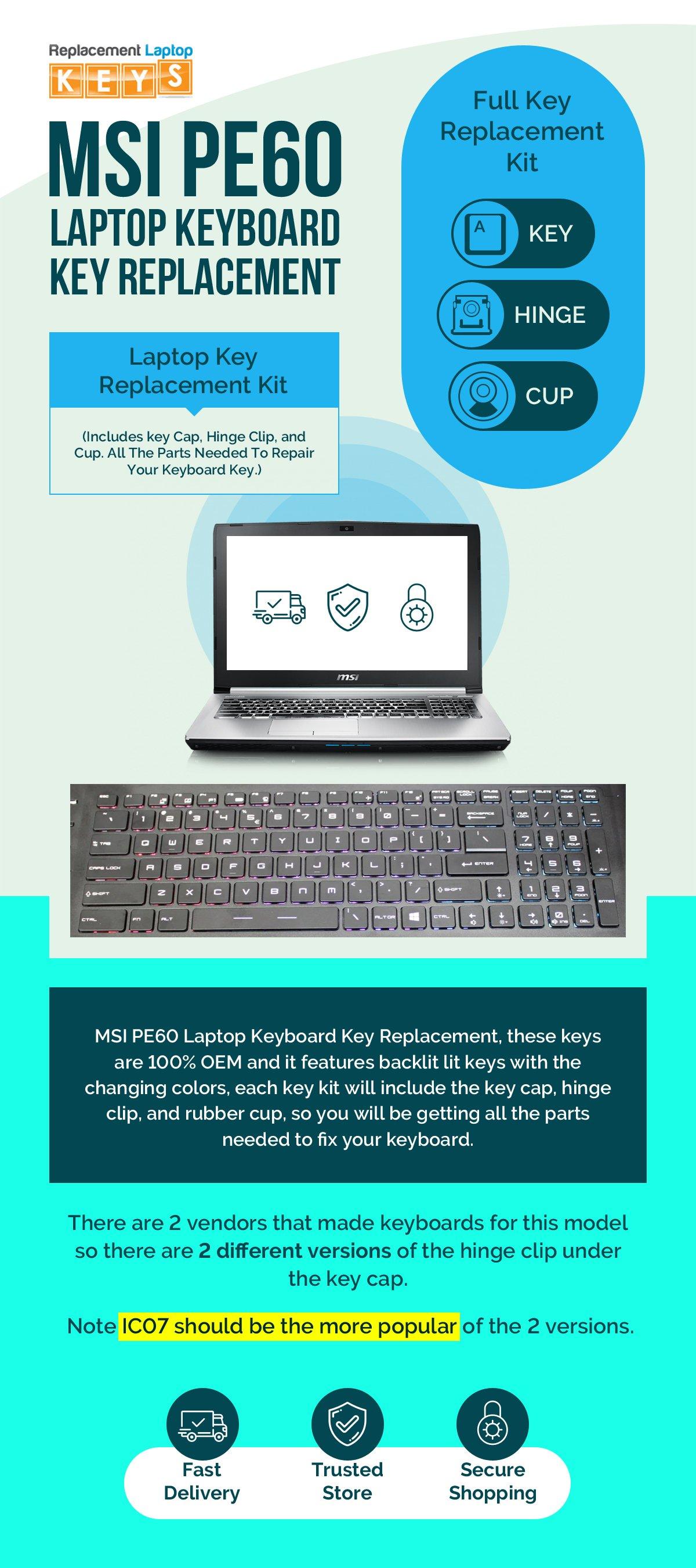 Buy MSI PE60 Laptop Keyboard Keys Replacement