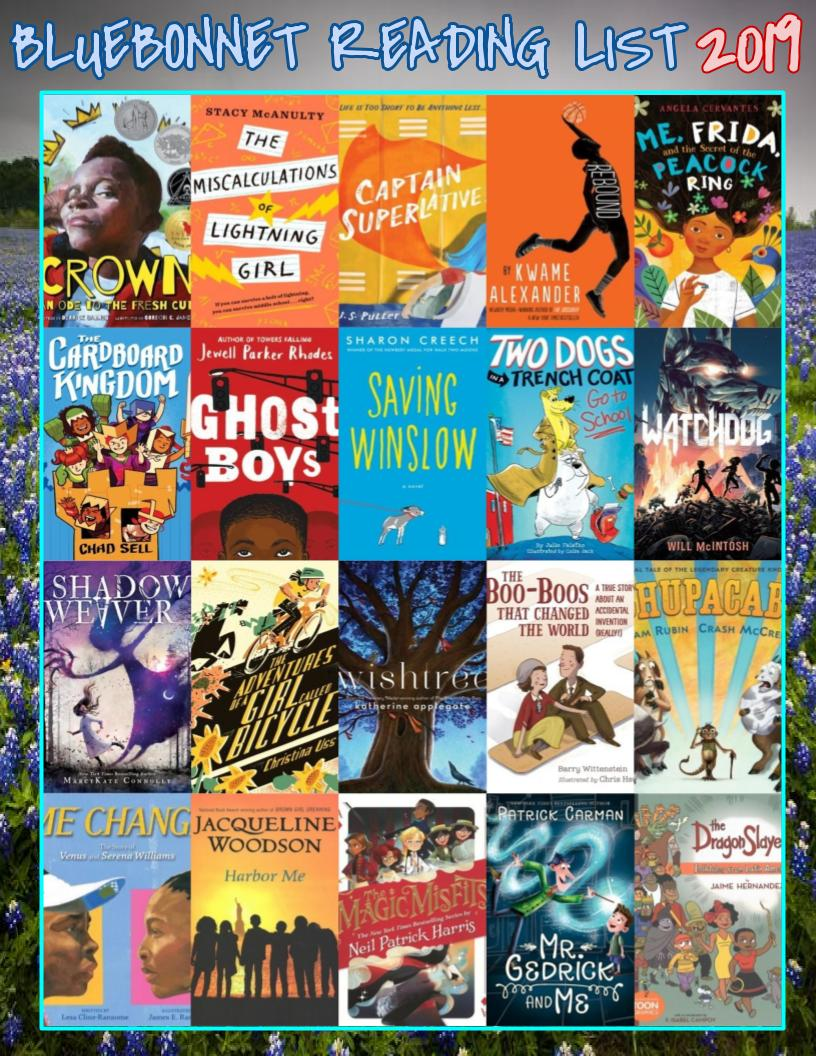 List Of 2020 Books.Meet The 2019 2020 Bluebonnet Reading List