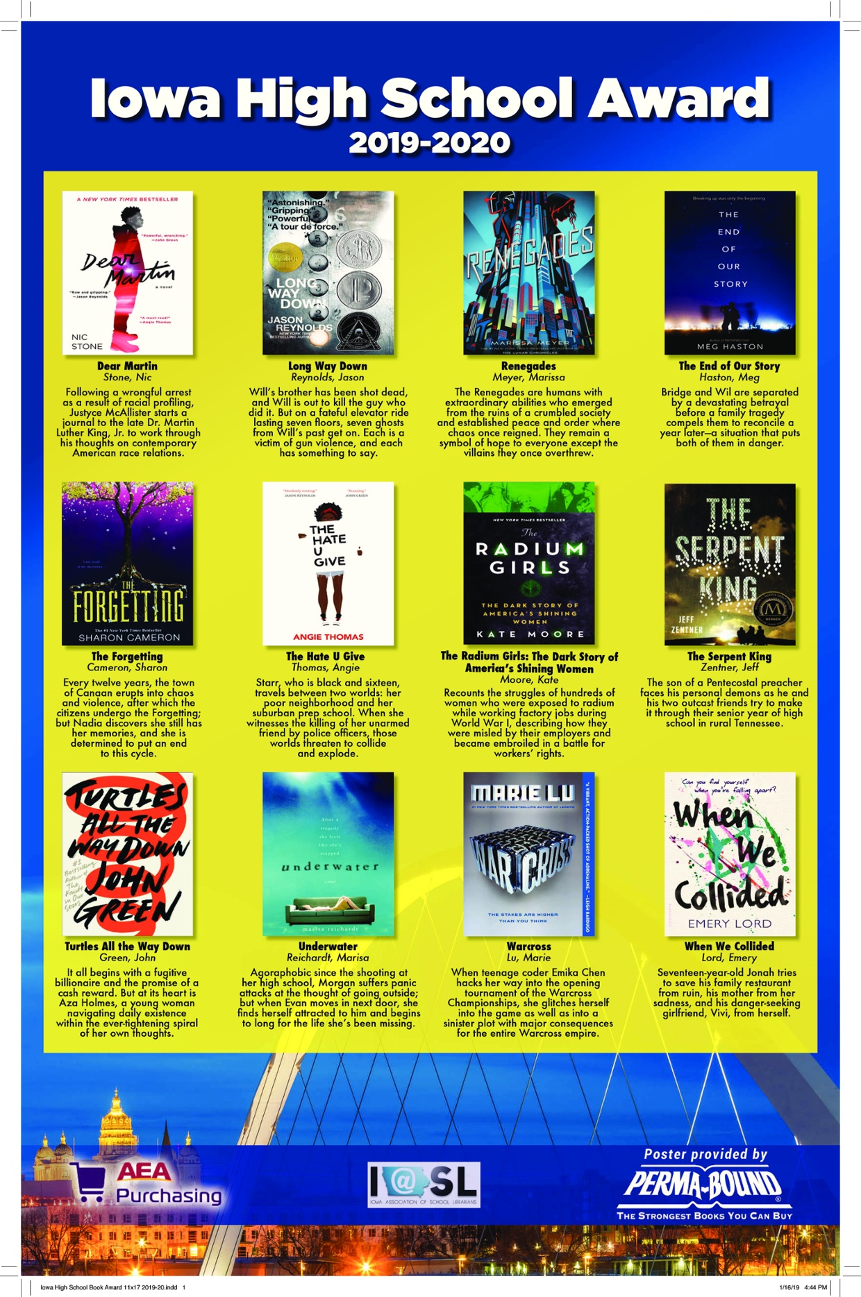 Iowa High School Book Award 19-20