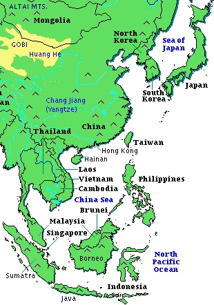 map of south east china China Southeast China And Japan Map map of south east china