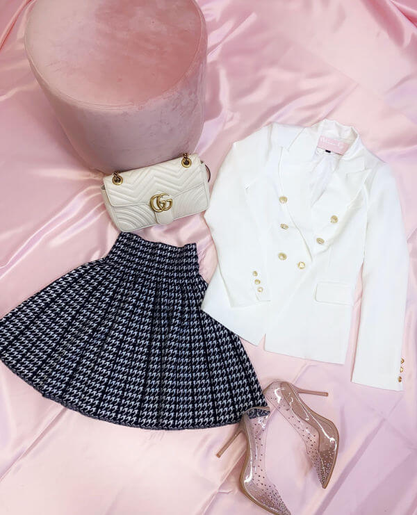 Blazer and Skirt Valentine's Day Outfit Inspo