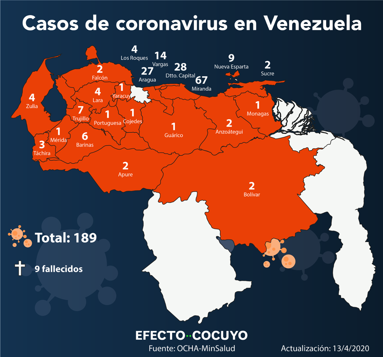 mapa coronavirus venezuela