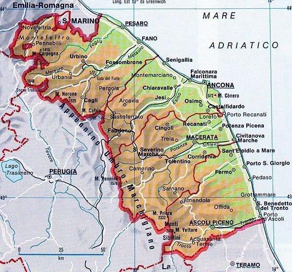 Marche Cartina Province.Le Marche Cartina Interattiva