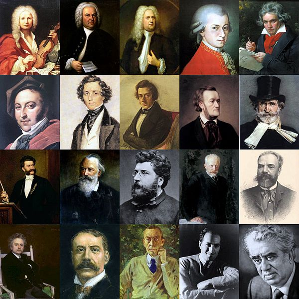 Classical Composers linked to their most-liked compositions.
