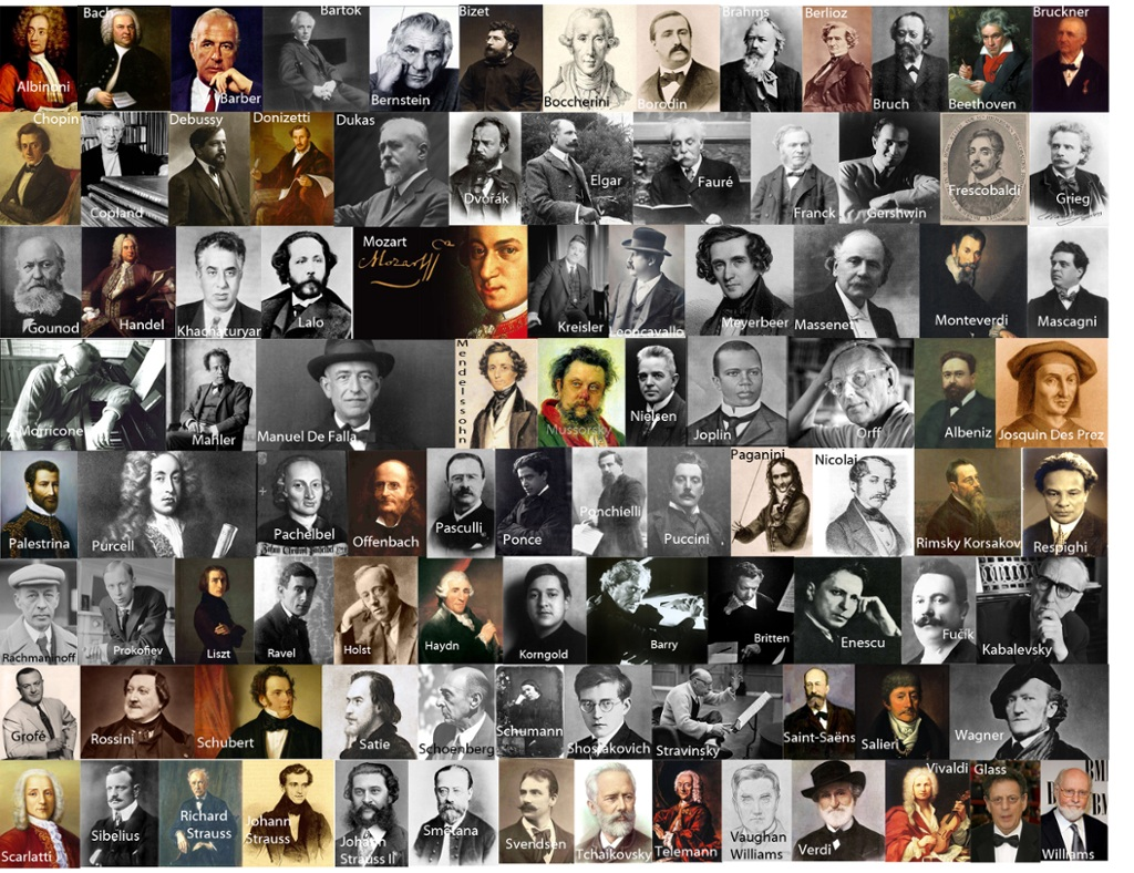 famous male classical composers linked to youtube videos