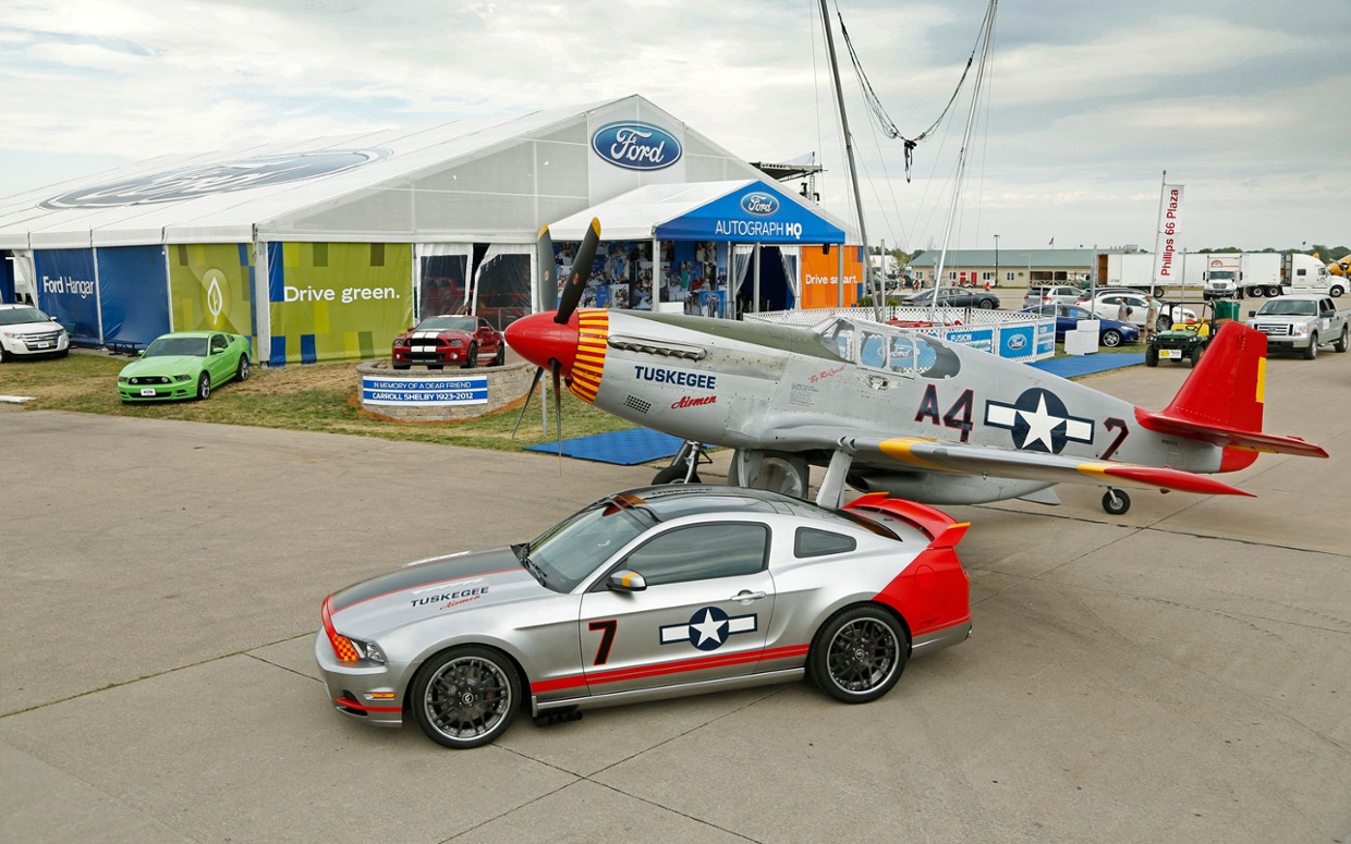This is a p 51 mustang and a ford mustang