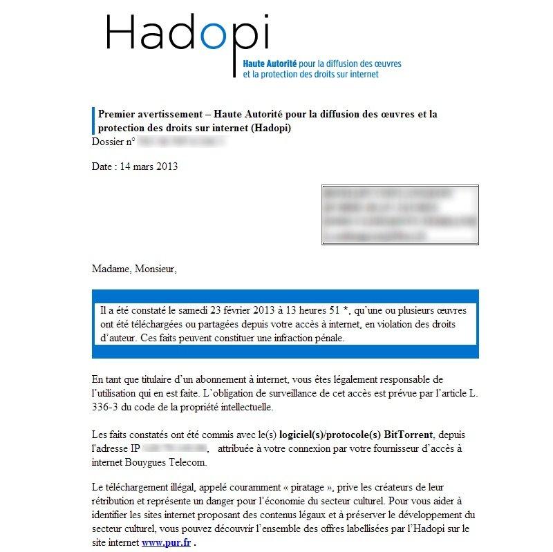 APRES PREMIER AVERTISSEMENT HADOPI