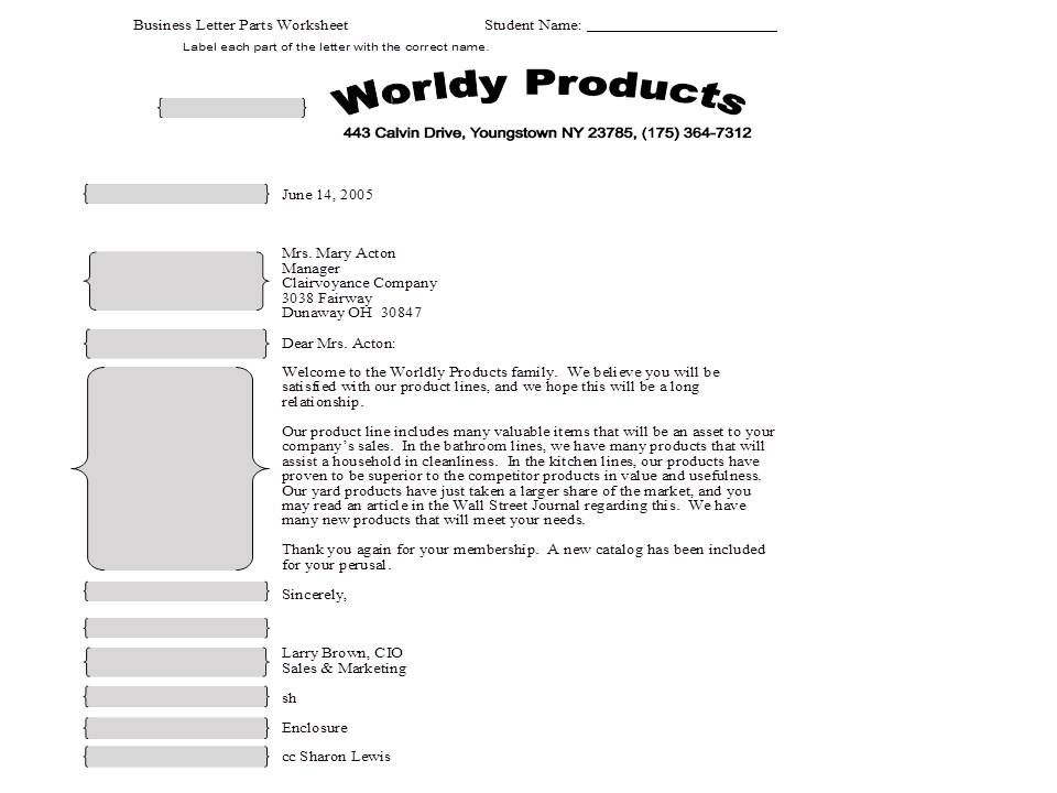 Parts Of A Business Letter Worksheet  Thinglink