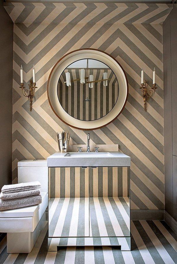 stripes for elegance un miroir rond pour casser l 39 abonda