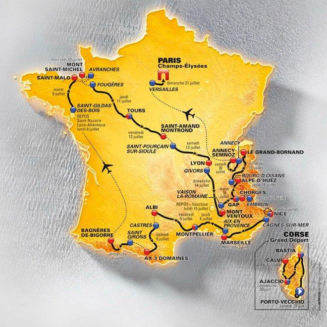 Tour de France 2013. Carte interactive des régions France3fr