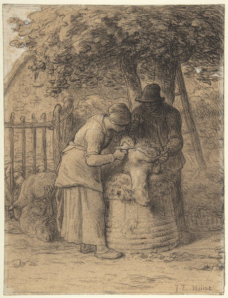 sheep shearing beneath a tree by jeanfran231ois millet