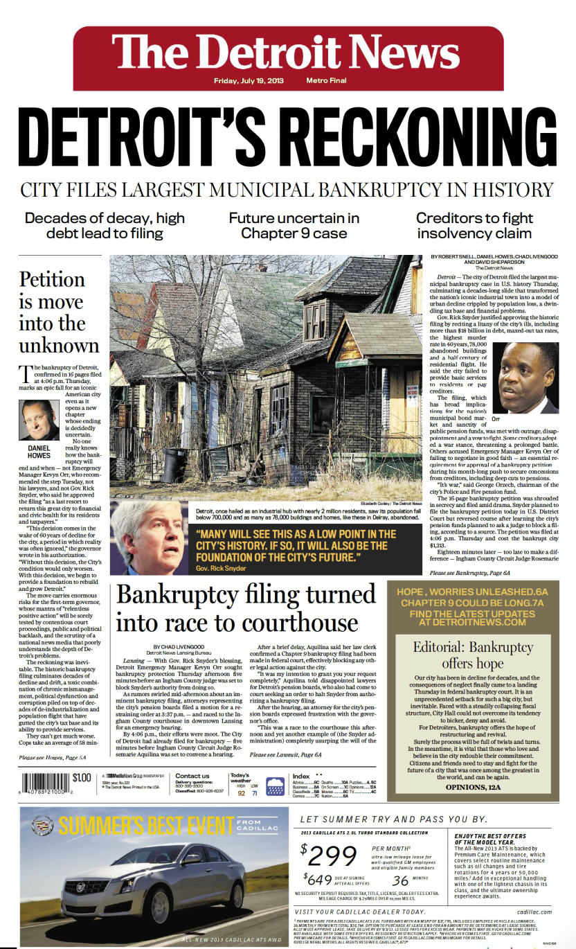 Detroit News on Detroit's bankruptcy