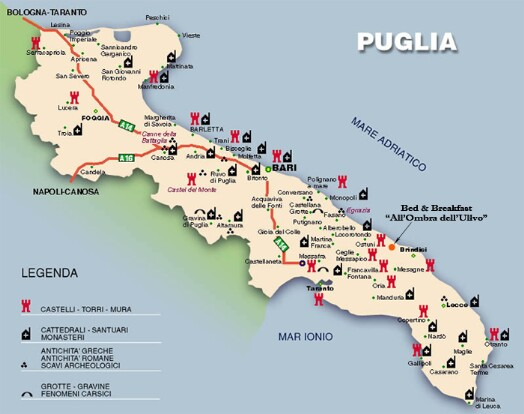 Cartina Puglia Localita Turistiche.Puglia Cartina Turistica Tomveelers
