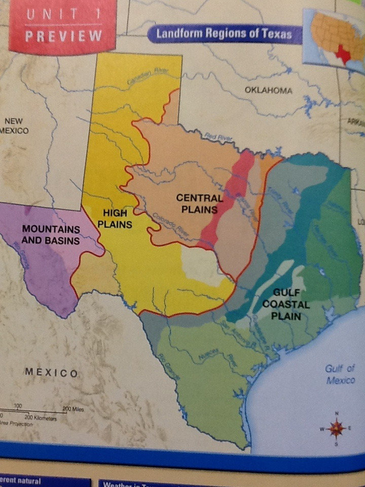 Map Of Texas Landforms.Texas Landforms Map