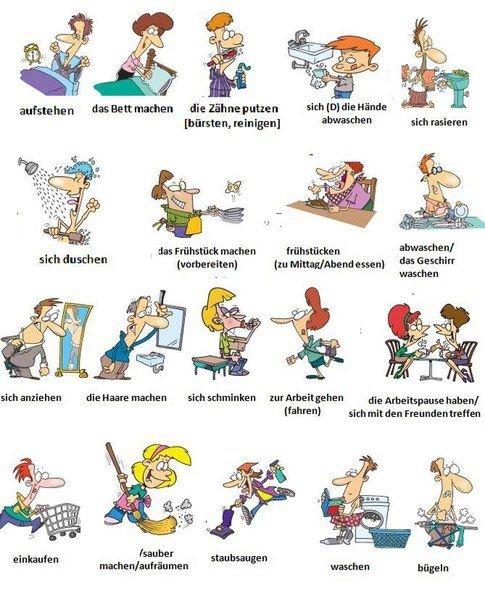 Arbeitsblatt Berufe Und Arbeit A1 : Ich stehe auf du mache das bett putze meine zähne