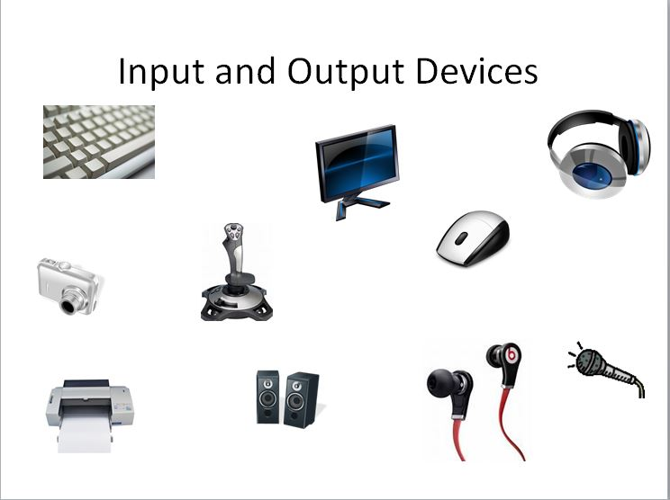 examples of computer input devices A monitor is an example of an output device, by showing the results on a screen from the input devices of the computerexamples being an lcd screen and a tft printer printers are another outout device, by showing the results made on a monitor.