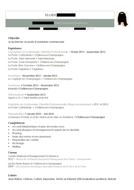 le cv d u0026 39 eloise  assistante commerciale  d u00e9crypt u00e9 par