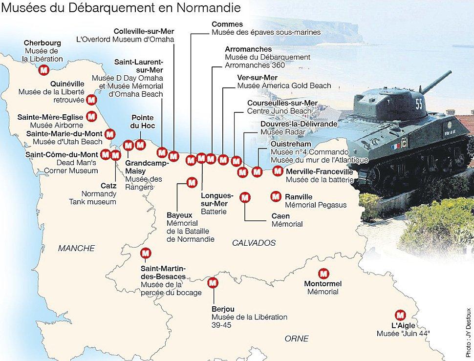 La carte des musées sur le Débarquement en Normandie