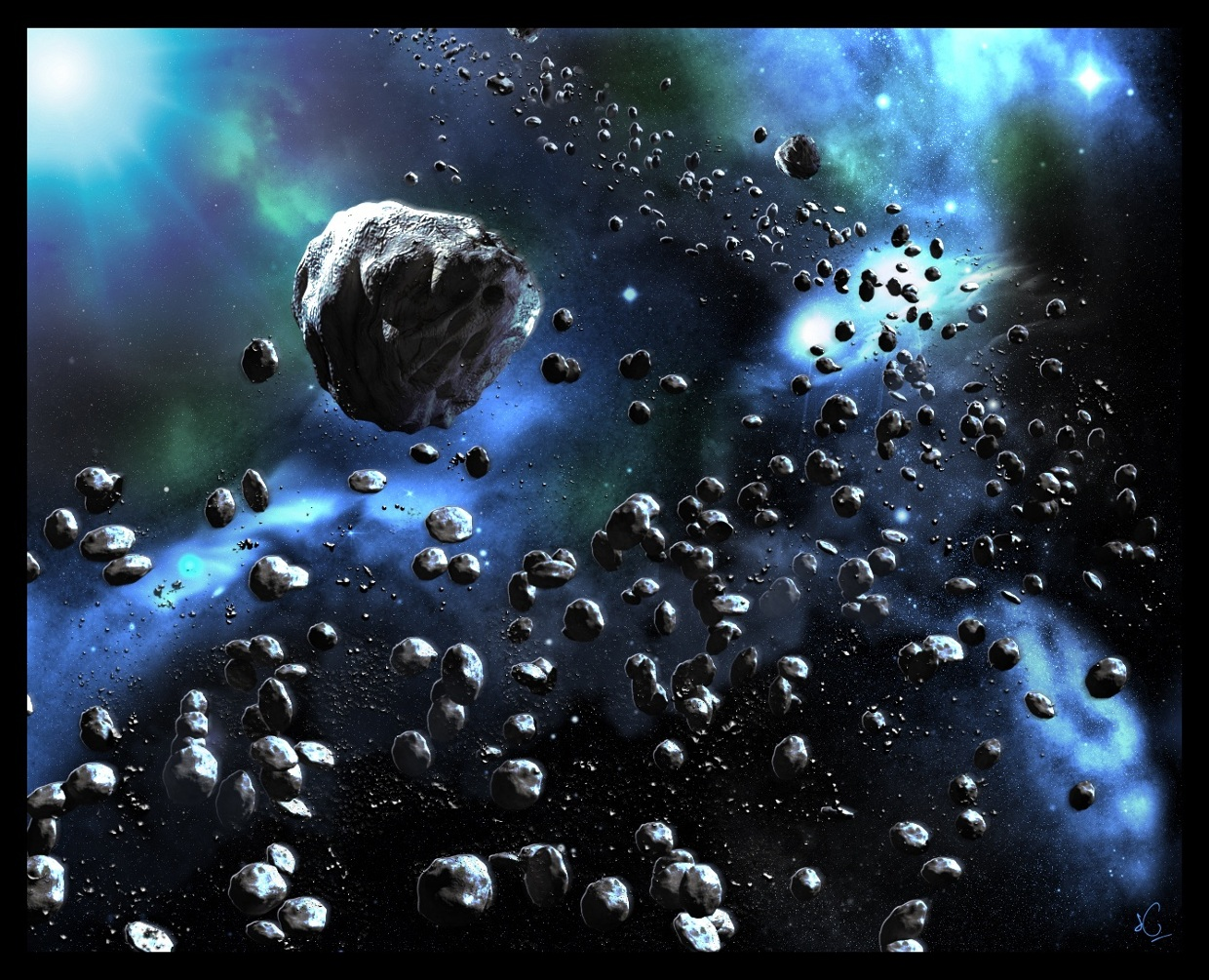 The asteroid belt orbits the sun  in between mars and jup...