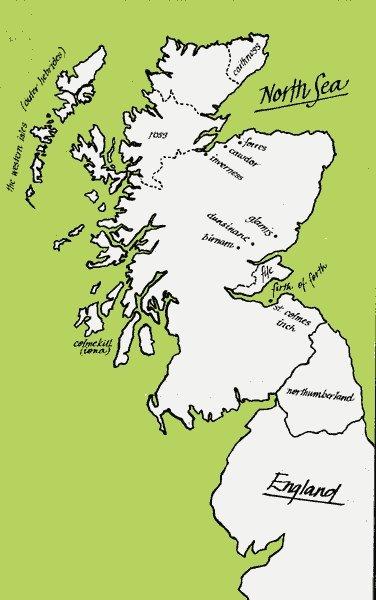 Map of Scotland for Macbeth