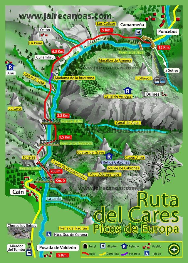 Mapa Ruta Del Cares.Ruta Del Cares