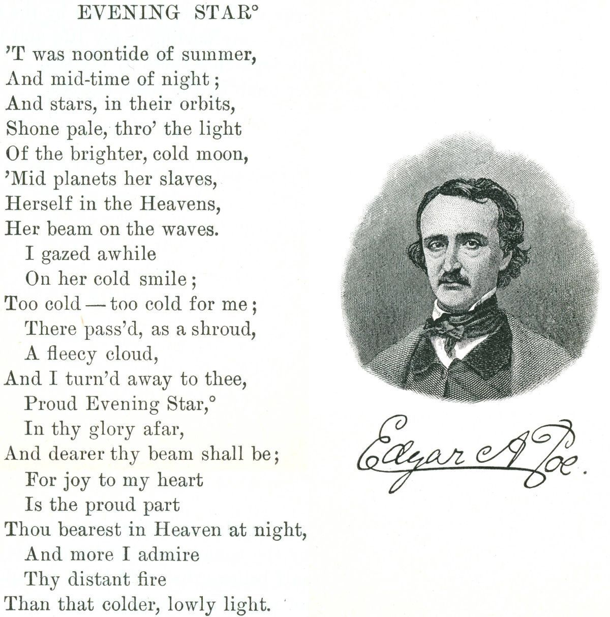 edgar allan poe evening star  replace image