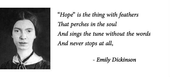 the meaning of hope in emily dickinsons poetry Emily elizabeth dickinson was born in amherst, massachusetts, on december 10, 1830 that all of emily dickinson's poems were published together in one edition hope is the thing with feathers.