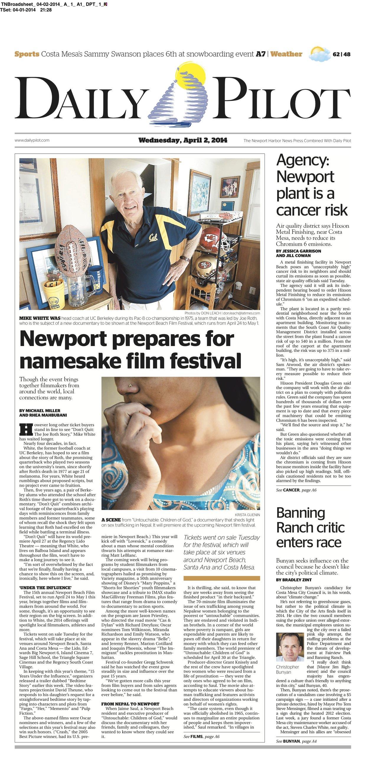 DPT April 2, 2014 - Front Page