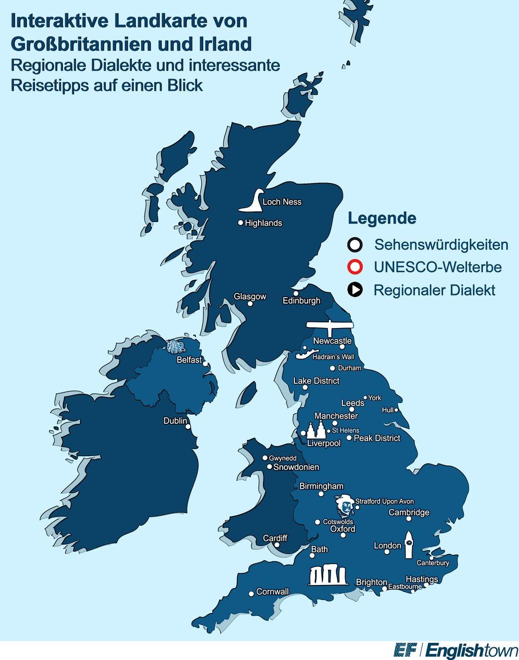 Sehenswürdigkeiten Großbritannien Karte.England Karte Interaktive Karte Von Gb Highland Tours