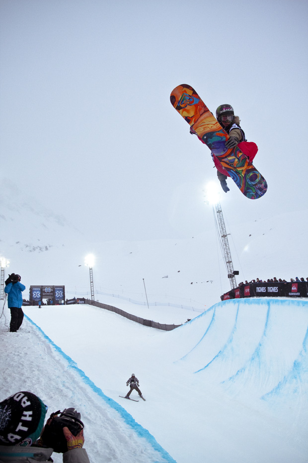 Projectile:When the snowboarder is in the air, he is a p...