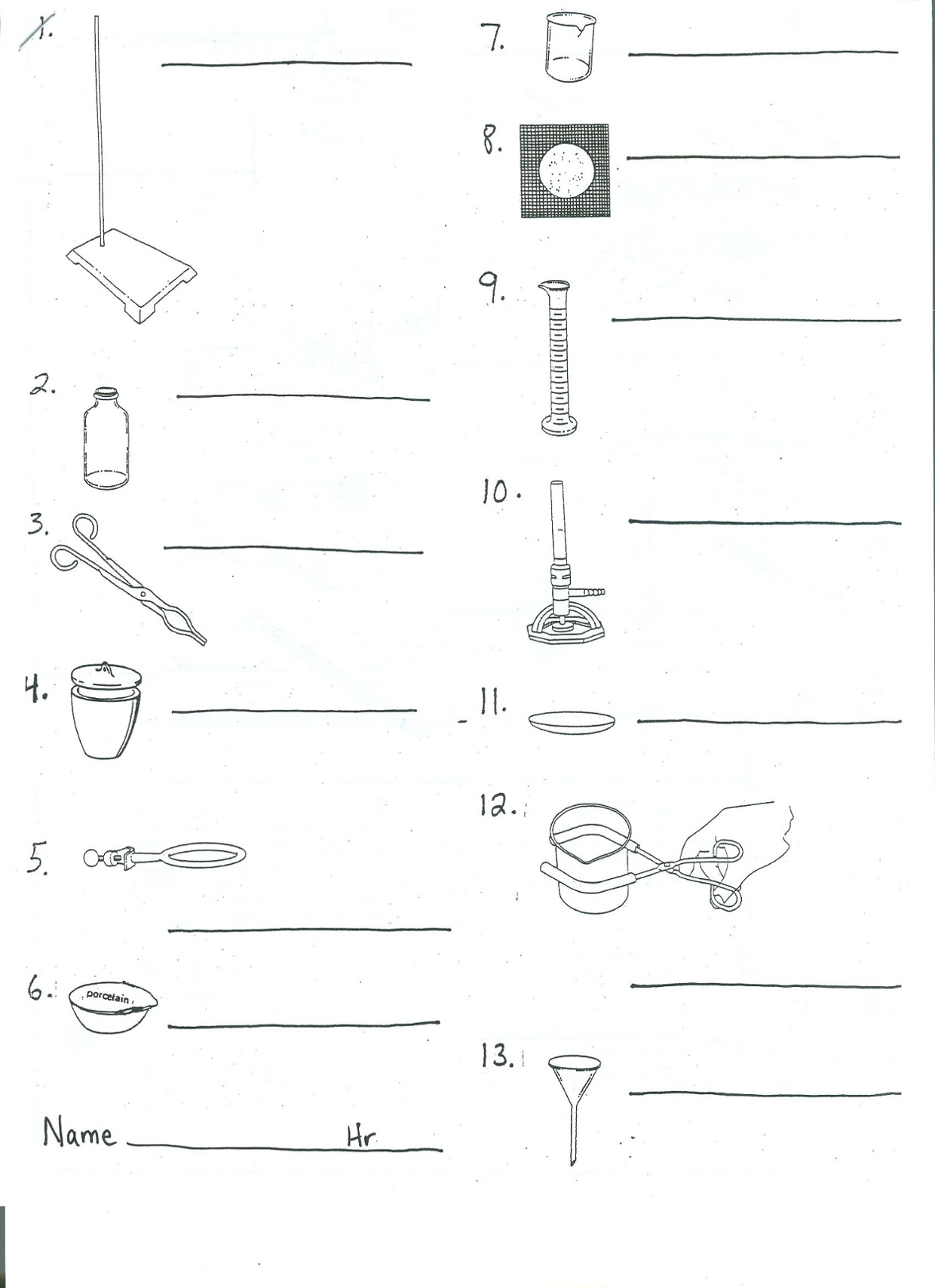 Science Lab Equipment Worksheet | Worksheet
