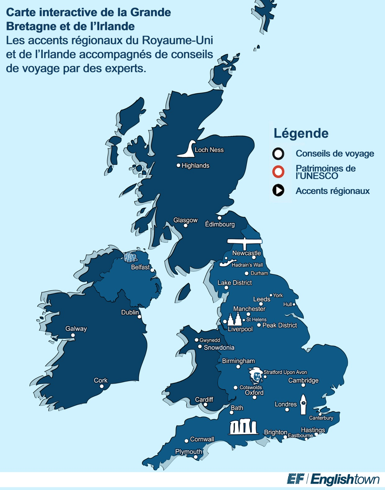 Carte interactive de la grande bretagne et de l 39 irlande - Office du tourisme de grande bretagne ...