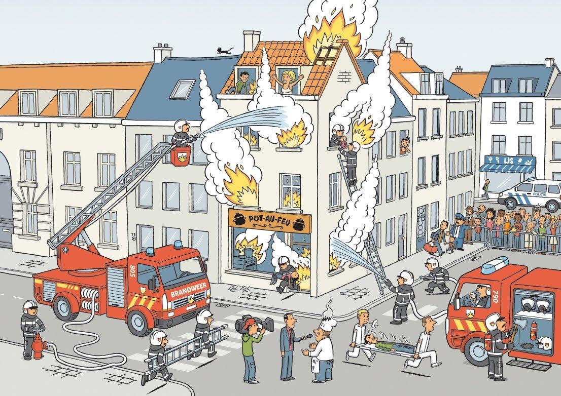Vuur blussen met Flip de Beer, Liedje: de brandweer; oei ...