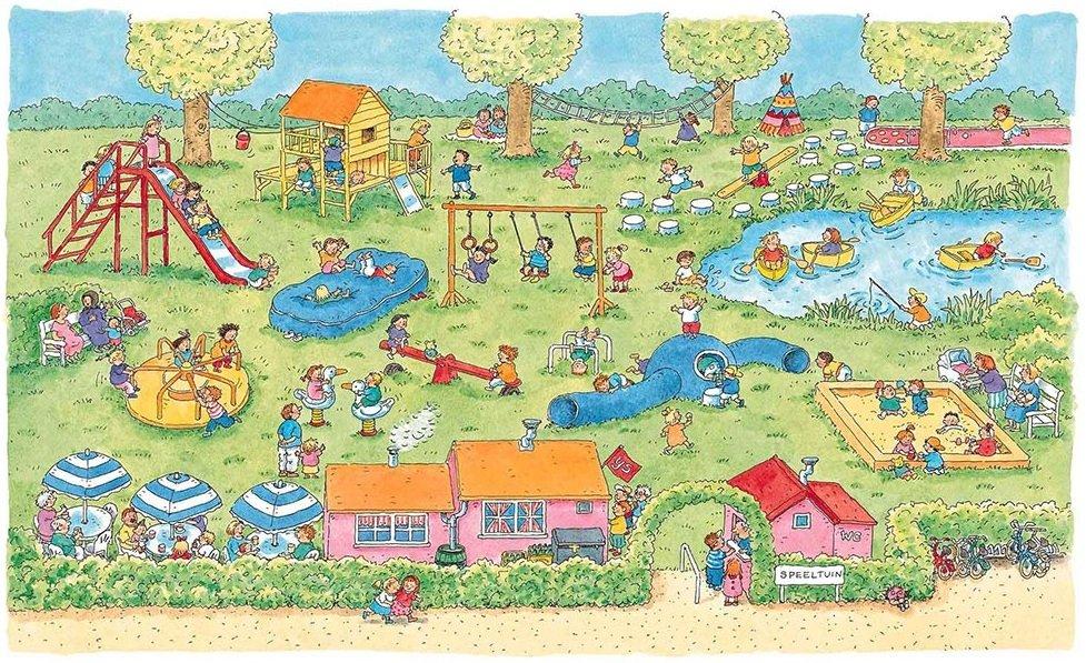 Naar de speeltuin (getekend door Dagmar Stam)