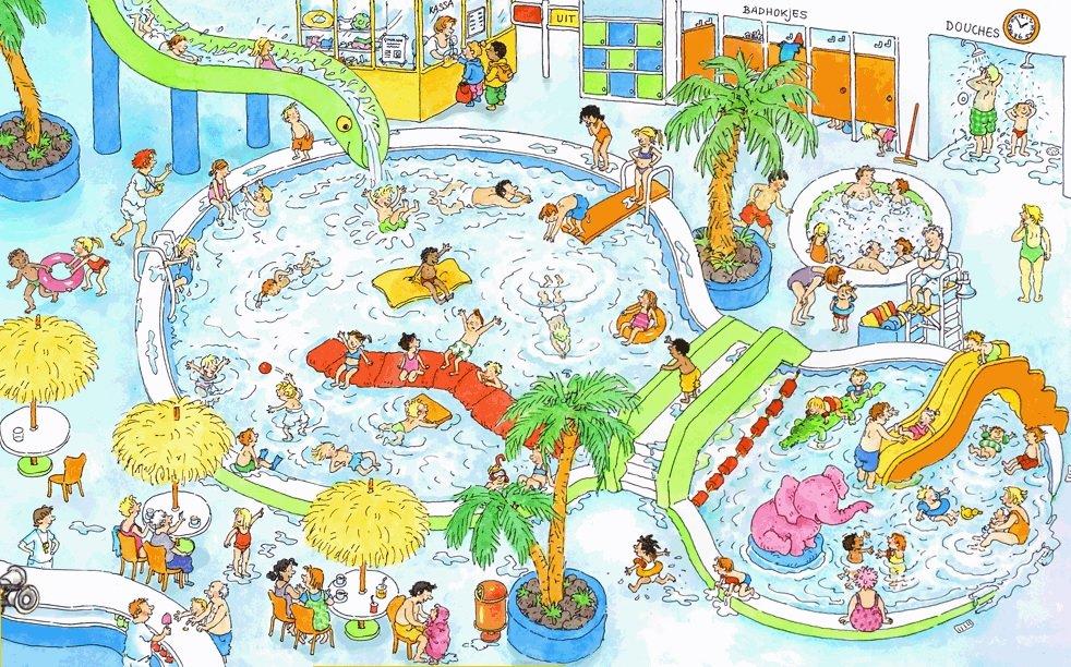 Het zwembad (getekend door Dagmar Stam).
