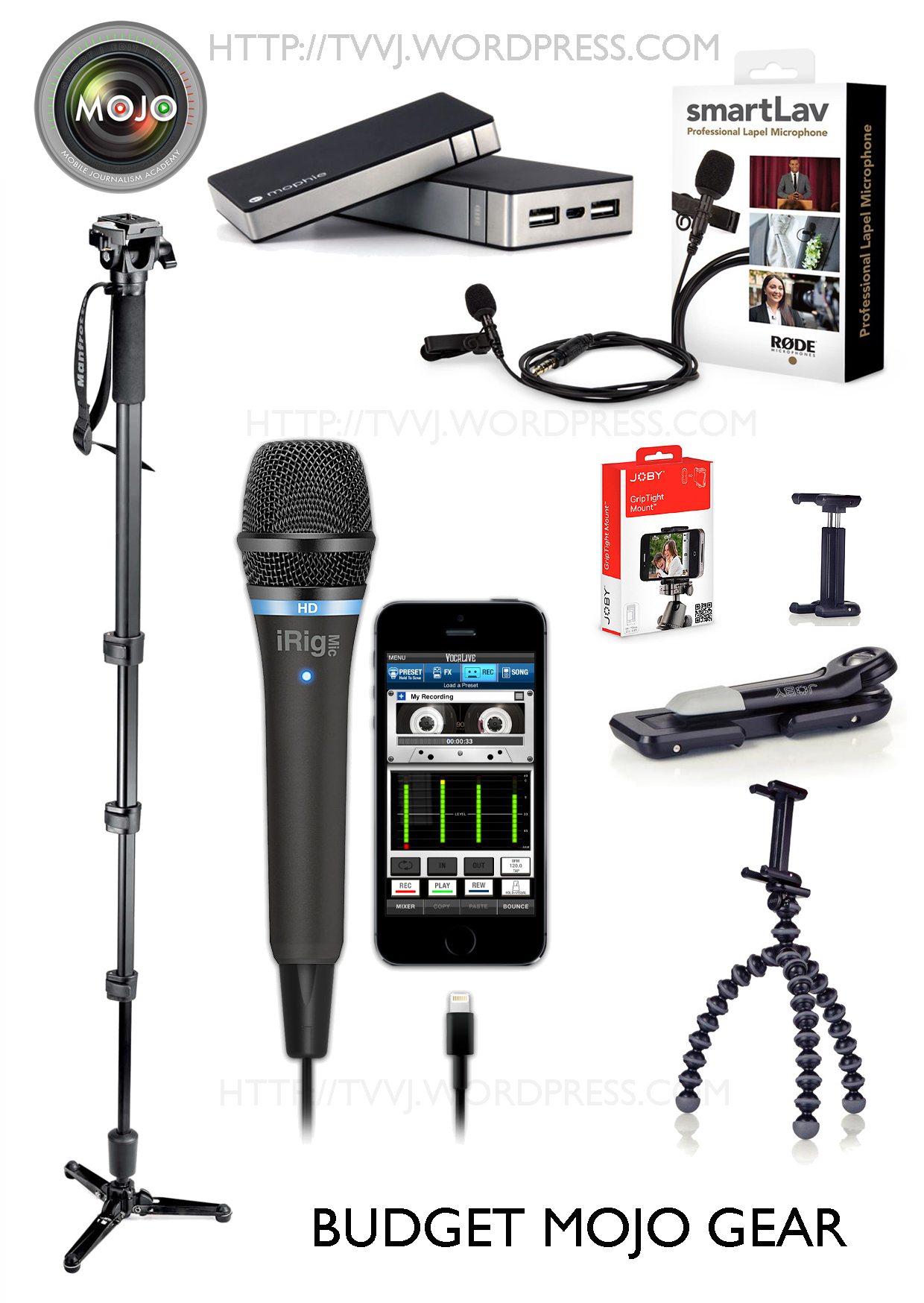 IKMultiMedia iRig Mic HD, Manfrotto 560B Monopod with P/T...