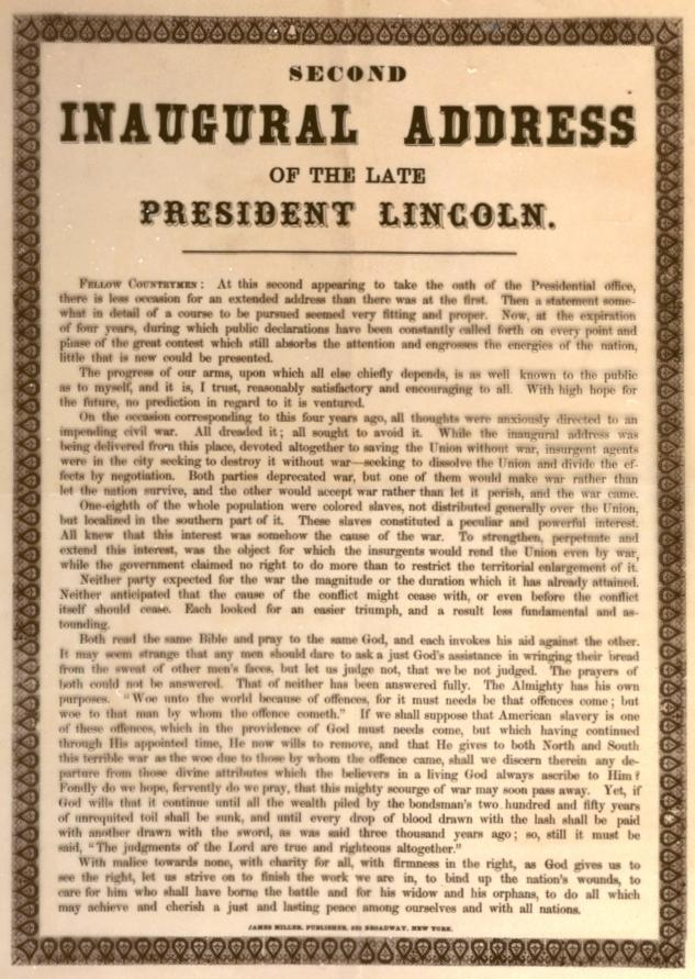 a review of abraham lincolns speech on mutual forgiveness between the north and the south Study 906 hist 202 study guide (2013-14 mai)  military and south to work in factories in north  but sided with the north he went along with lincolns.