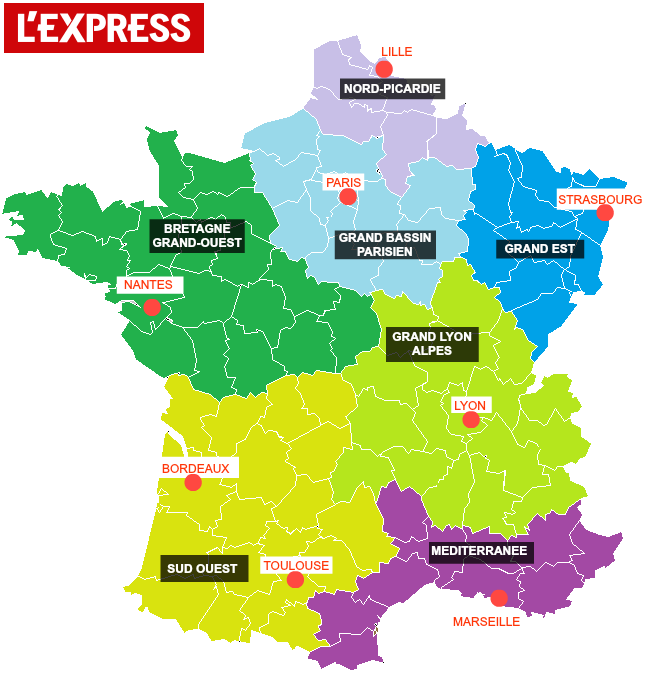 Voici la carte des 14 régions de la réforme territoriale de François Hollande - L'Express